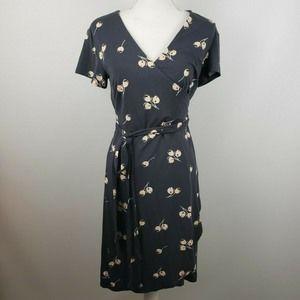 Loft cherry knit wrap dress sz 18 sheath a-line